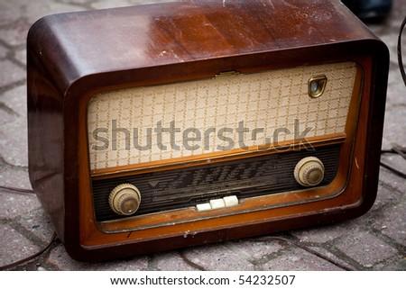 retro radio 2. - stock photo