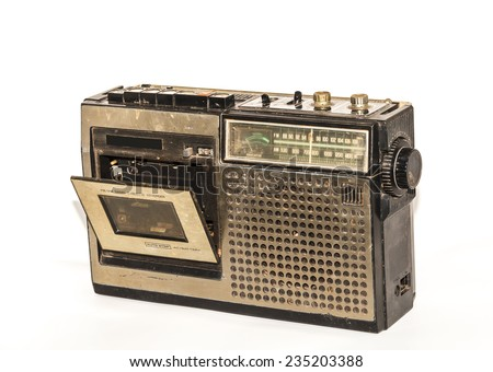 Retro radio and tape player on white background, Cassette player