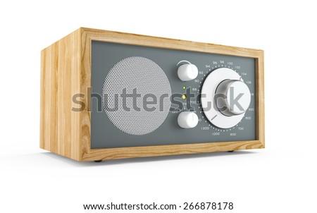 Retro radio isolated on white background - stock photo