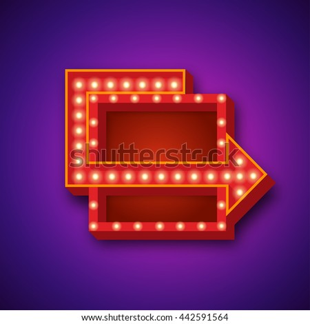Retro realistic light background. 3D design element square frame with arrow glowing with lamps. Blank light backdrop for your text, Advertising, Promotions. - stock photo