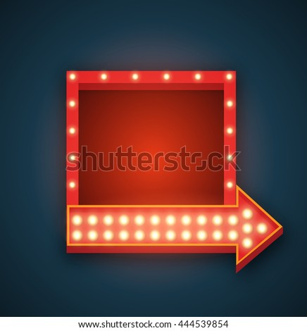 Retro realistic light background. Vector 3D design element square frame with arrow glowing with lamps. Blank light backdrop for your text, Advertising, Promotions. - stock photo