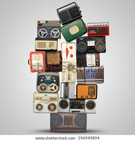 Retro recorder, audio system, collage of music, background - stock photo