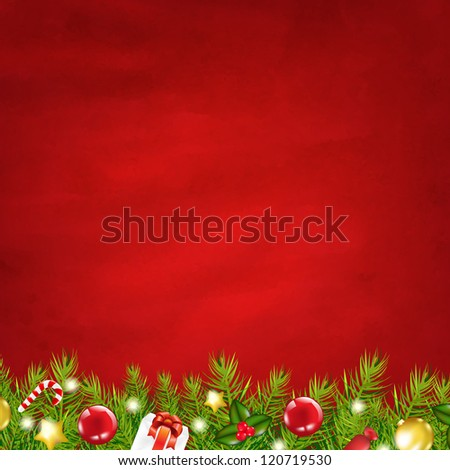 Retro Red Background And Fir Tree Garland - stock photo