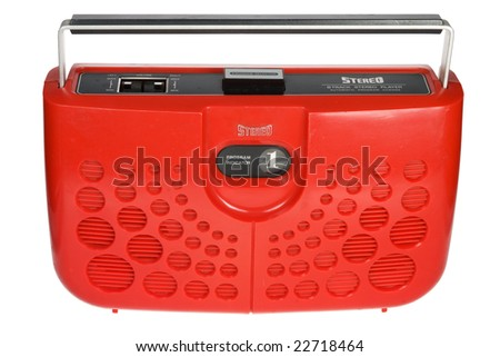 Retro red portable eight track tape player isolated on white background