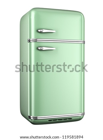Retro refrigerator - isolated on white background - stock photo