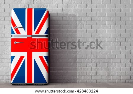 Retro refrigerator with the British flag in front of Brick Wall. 3d Rendering - stock photo