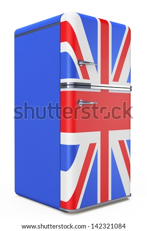 Retro refrigerator with the British flag on a white background - stock photo