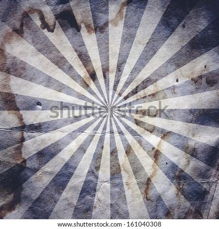 Retro revival sunbeam poster background in blue - stock photo