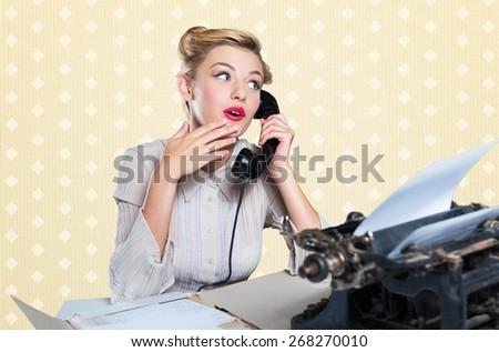 Retro Revival, Telephone, Secretary. - stock photo