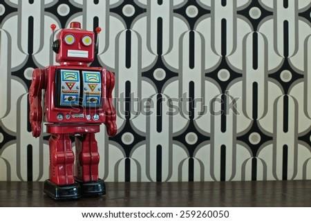 Retro Robot on Retro Frame - stock photo