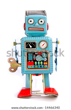 retro robot on white - stock photo