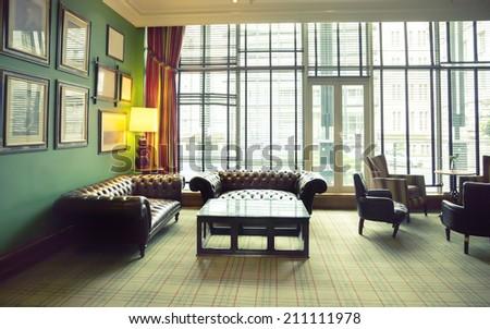 retro room in classic hotel interior - stock photo