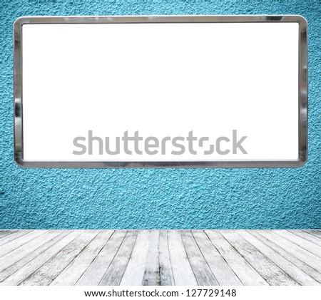 Retro room with blank billboard - stock photo