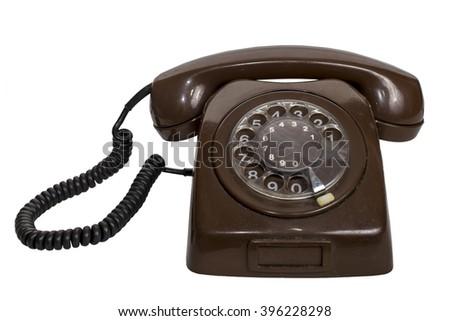 Retro  rotary telephone isolated on white background - stock photo