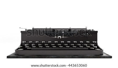 Retro rusty typewriter in front 3d render isolated on white background