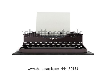 Retro rusty typewriter with paper sheet in front 3d render isolated on white background