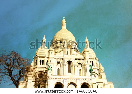 Retro Sacre-Coeur church in Montmartre,paris