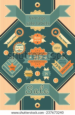 Retro sale discount promotion color cardboard labels  illustration - stock photo