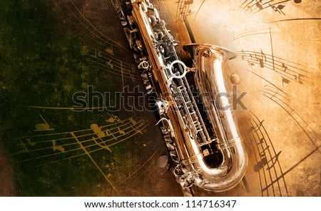 Retro Sax with old yellowed texture background