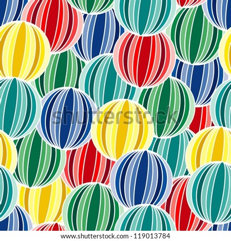 Retro seamless background with multicolor vivid balls