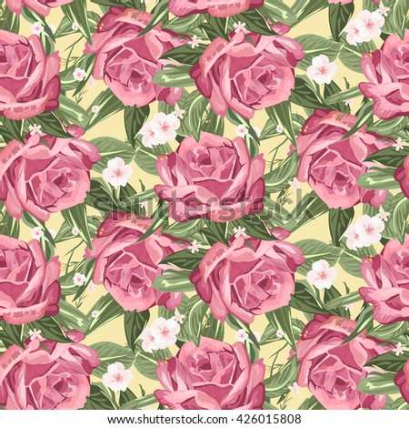 Retro seamless hand drawn rose pattern over beige background
