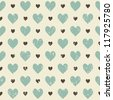 retro seamless pattern with hearts (raster version of the vector) - stock photo