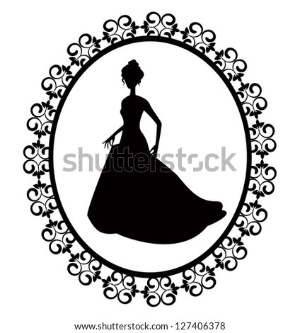 retro silhouette of a woman in a long dress with ornate frame - stock photo