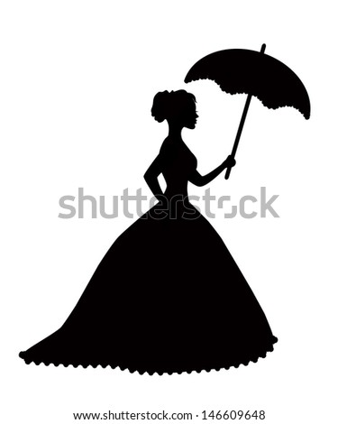 retro silhouette of a woman with an umbrella in a magnificent dress - stock photo
