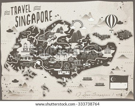 retro Singapore travel map in brown and beige