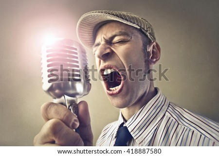Retro singer - stock photo