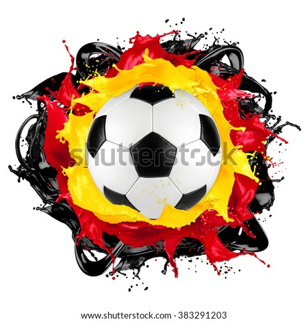 retro soccer ball with german flag color splash isolated on white background