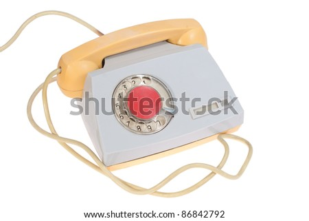 retro soviet phone isolated on a white - stock photo