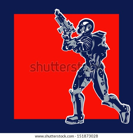 Retro Space Label, background with an armoured marine in a comic book style - stock photo
