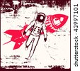 Retro Space Travel Bitmap Background - stock vector