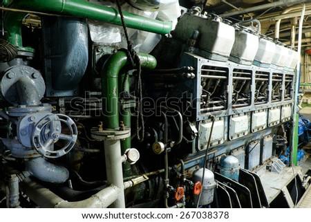 Retro spaceship engine diesel Vessel's Main Engine  - stock photo