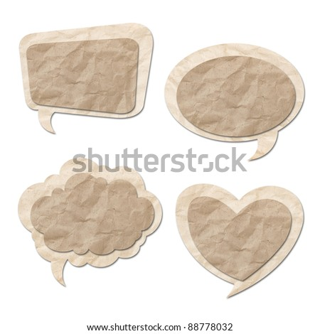 Retro speech bubbles from Recycle Paper on white background - stock photo