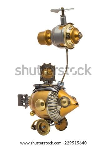 Retro steampunk fish. Bronze and chrome parts. - stock photo