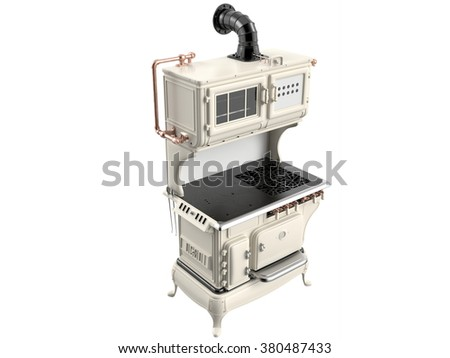 Retro stove on white background. 3D image