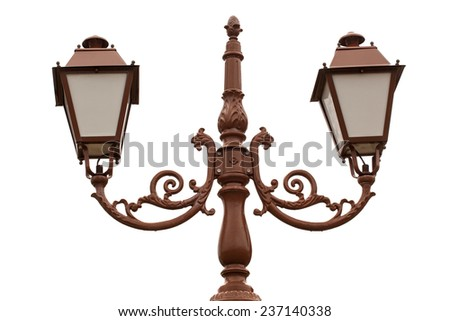 retro street light lamp post, isolated on white - stock photo