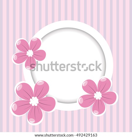 Retro striped background with frame for your text and flowers