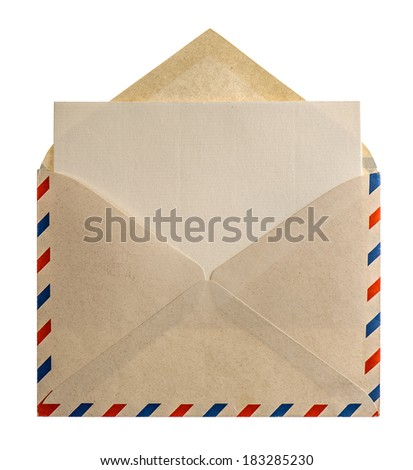 retro style air mail envelope letter isolated on white background - stock photo