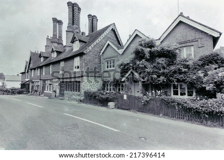 Retro style black and white old English house