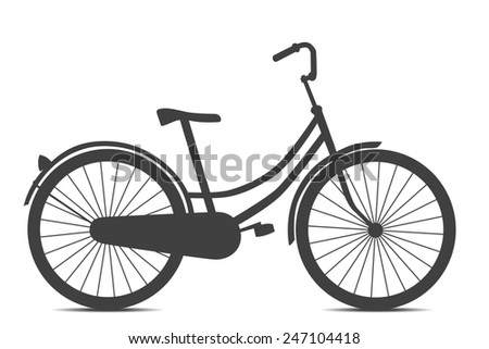 Retro style black bicycle isolated on white background