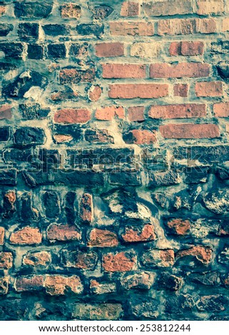 Retro style brickwall for background or texture - stock photo