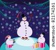 Retro style Christmas Card(Snowmen) - stock photo