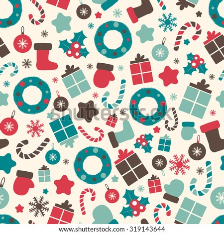 Retro style Christmas pattern. Winter background. Endless texture in pastel colors. Raster colorful illustration can be used for print on paper and fabric. Wreath, holly and other traditional symbols. - stock photo