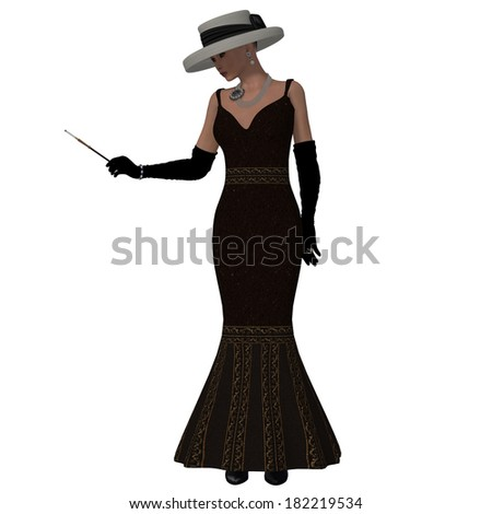 Retro Style Dress - A woman dressed in a brown fashion dress and hat from the 1960s. - stock photo