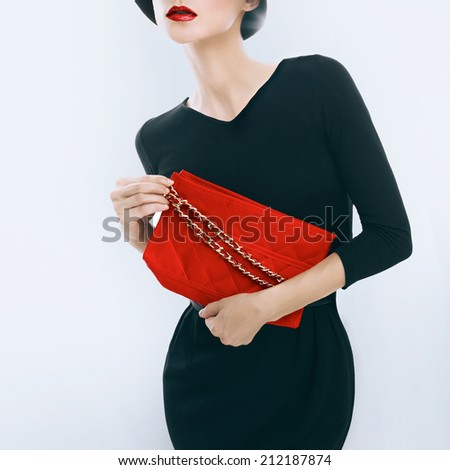 Retro style. Elegant glamor lady with clutches - stock photo