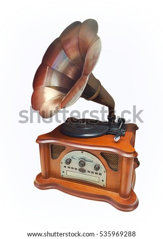 retro style gramophone isolated on white