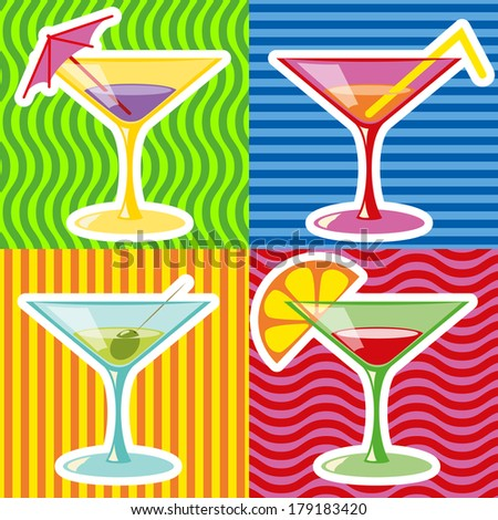 Retro style illustration of martinis on abstract retro background